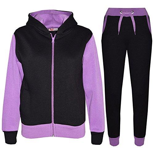 A2Z 4 Kids® Kinder Trainingsanzug Mädchen Jungen Designer Plain Kontrast - T.S Plain 101 Lilac 7-8