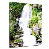 Kunstdruck - Kleiner Wasserfall - Bild auf Leinwand - 50 x 60 cm - Leinwandbilder - Bilder als Leinwanddruck - Landschaften - Natur - Bachlauf
