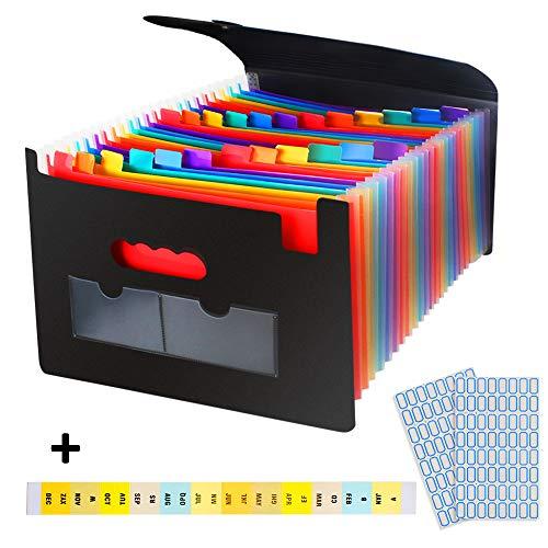 Erweitern des Dateiordners mit Umschlag 24 Taschen, Regenbogenerweiterung und tragbarem Akkordeon zum Aufstellen des Expanders Große Kapazität, A4-Dateiordner Box Erweitern des Datei-Organisators