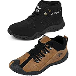 Chevit Men's Combo Of 2 Casual Sneakers (Sports And Running Shoes)- Black- 9