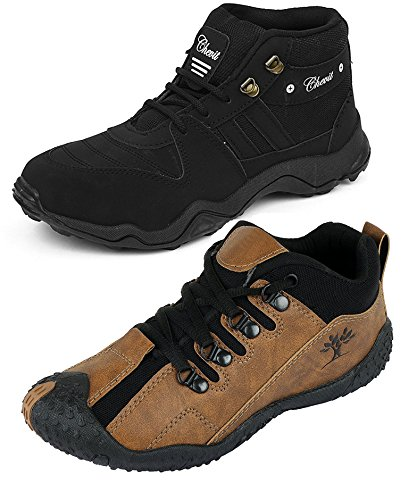 Chevit Men's Combo Of 2 Casual Sneakers (Sports And Running Shoes) Black-10