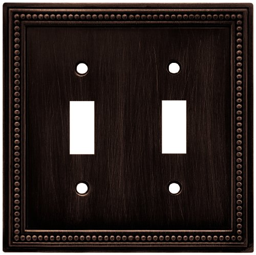 Brainerd 64409 Beaded Double Toggle Switch Wall Plate / Switch Plate / Cover, Venetian Bronze by Brainerd (Plate Switch Bronze Wall Double)