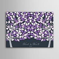 DIY (dos color morado árboles) personalizado árbol de boda libro de visitas alternativa que deseen Árbol huellas dactilares firma lienzo árbol de boda regalo de bodas Decoración de la boda boda nombre (incluye 12colores de tinta) 59cm*80cm/pc