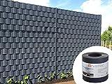 Sichtschutz anthrazit, 25,5 Meter - zur Anbringung an Doppelstabmatten - Lärm-, Sicht- & Windschutz - einfache Montage, ohne Werkzeug - 1,2 mm Stärke statt der üblichen 1,0 mm - Made in Germany