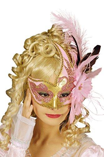 Maske Venezia in rosa-gold mit rosa (Feder Kostüme Rosa Maske)