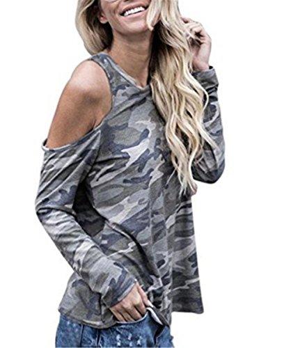 EMIN Damen Blusen Frauen Schulterfrei Camouflage Langarm Bluse Tops T-Shirt Lose