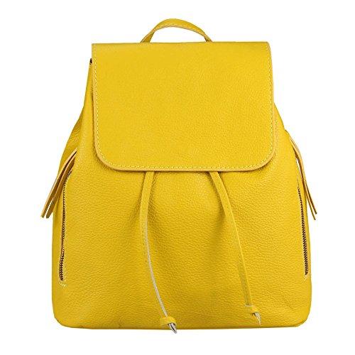 OBC Made IN Italy Damen Echt Leder Rucksack Cityrucksack Lederrucksack Tasche Schultertasche Ledertasche Stadtrucksack Rindsleder Handtasche Daypacks Backpack (Gelb)