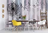 Blumen Löwenzahn Grau Rosa - Wallsticker Warehouse - Fototapete - Tapete - Fotomural - Mural Wandbild - (3461WM) - XXXL - 416cm x 254cm - VLIES (EasyInstall) - 4 Pieces