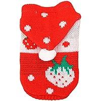 Fandecie Piccolo Modello Fragola Autunno e in Inverno Maglione Pet Abbigliamento Cappello Nuovo Maglione