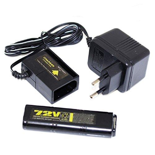 450 Air (Airsoft Softair Ersatzteile WELL 7.2V 450mAh Ni-MH Batterie und Ladegerät für Vz61 Scorpion MP7 MAC10 R2 R4)