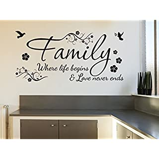 Family Wall Quote Where Life Begins & Love Never Ends Wall Sticker Vinyl Wall Art Quote Home Decal Black | Small 57cm (w) x 27 cm (h)