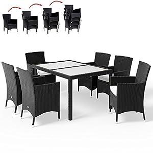 Deuba Poly Rattan Sitzgruppe Schwarz 6 Stapelbare Stühle & 1 Tisch 7cm Dicke Auflagen Gartenmöbel Sitzgarnitur Set