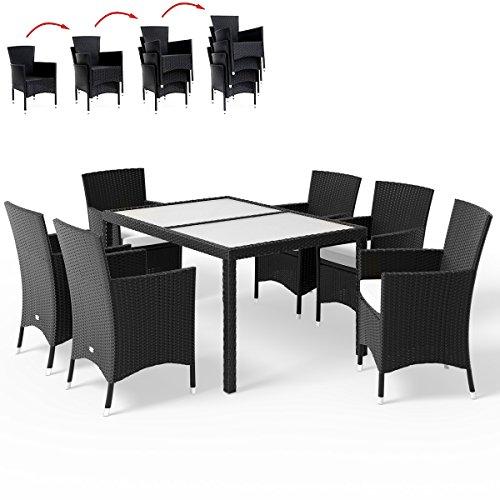 Deuba Poly Rattan Sitzgruppe 6+1 Schwarz | 6 stapelbare Stühle | 7cm dicke Sitzauflagen Creme | wetterfestes Polyrattan [ Modell- & Farbauswahl 4+1 / 6+1...