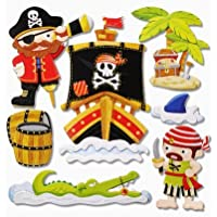 Stickerkoenig 3D Sticker XXL Wandtattoo Kinderzimmer Wandsticker - niedliche Piraten II