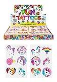 HENBRANDT 24 x Girls Unicorn Temporary Tattoos Children\'s Birthday Party Bag Filler
