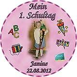 Tortenaufleger Fototorte Tortenbild Schulanfang Einschulung 1. Schultag Rund 14 cm Durchmesser SE03