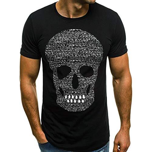 a9a20b26ed4c20 CUTUDE T-Shirt da Uomo Maglietta da Uomo Casual Skull Fashion Shirt T-Shirt