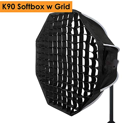 MDFGHJD 90Cm Foto Portabe Bowens Mount Softbox Wabengitter K90 Octagon Umbrella Outdoor Softbox 3 Monolight Kit