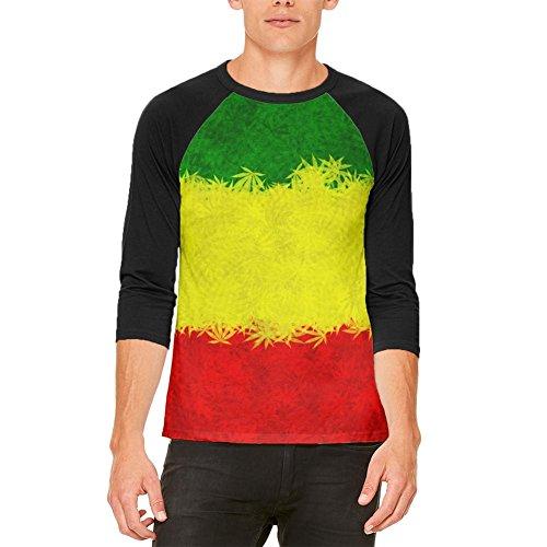 Rasta Pot Leaf One Love Tie Dye Mens Raglan T Shirt weiß-schwarz X-LG (Tie T-shirt Dye Rasta)