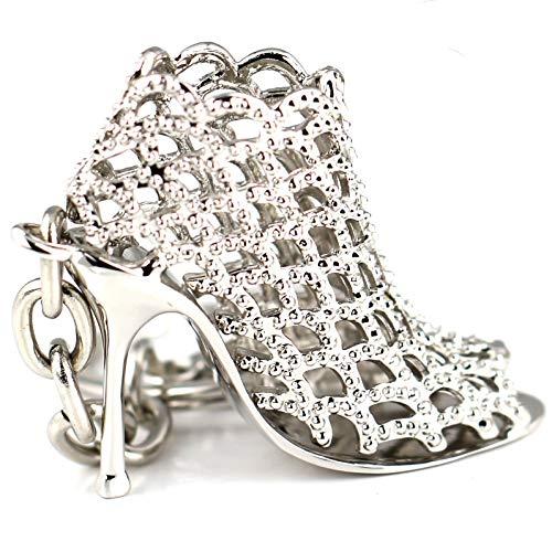 Kreative Mode (Maycom 86113 Schlüsselanhänger mit High-Heel-/Stöckelschuh-Design, hohl, silberfarben, kreatives Mode-Accessoire, Geschenkidee für Damen, silber, S)