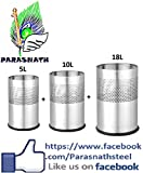 Parasnath Stainless Steel Open Perforated Half cylindrical Dustbin Set of 3pcs 5 Ltr. and 10 Ltr. & 18 Ltr