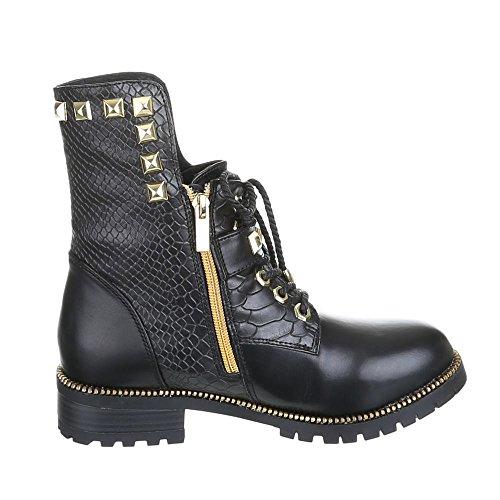 Damen Schuhe, ROBERTA, BOOTS Schwarz Gold SZERENA