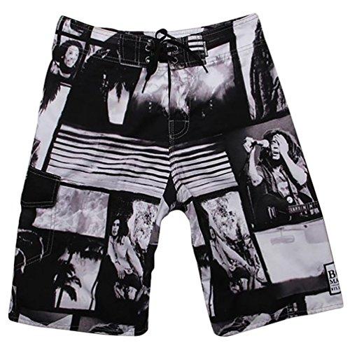YOUJIA Herren Badeshorts Leisure Printing Swim Kurz Hose Board Shorts Schwarz