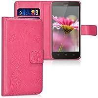 kwmobile Funda para Huawei Y625 - Wallet Case plegable de cuero sintético - Cover con tapa tarjetero y soporte Diseño Zarcillos y mariposas en rosa fucsia
