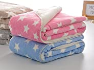 My NewBorn Ultra Soft Baby Blanket Wrappers-Set of 2 Pcs. (HotPink-Sky)