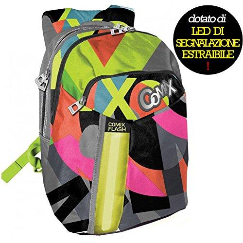 zaino-comix-flash-organizzato-illuminato-led-scuola-spallacci-regolabili-nuovo-modello-colore-grigio