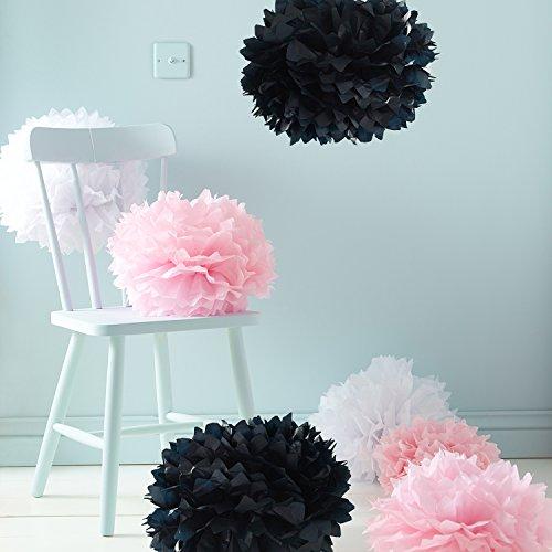 Lights4fun 9er Set Seidenpapier Pompoms rosa weiß schwarz Hochzeit Party Deko