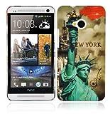 Cadorabo Hülle für HTC ONE M7 (1.Gen.) - Hülle im Design NEW YORK - FREIHEITSSTATUE – Hardcase Handyhülle mit Aufdruck - Schutzhülle Bumper Back Case Cover