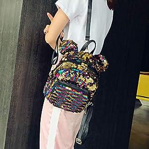51DxijG0jDL. SS300  - ALIKEEY Moda Señora Lentejuelas Escuela Mochila Satchel Niñas Estudiante Viaje Bolsa De Hombro Bolsos De Mujer Bolso…