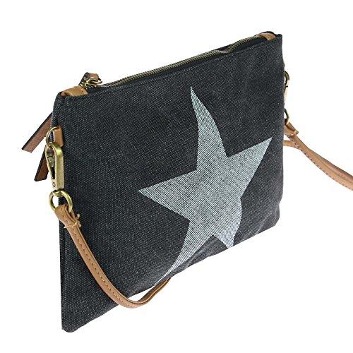 Damen Stern Tasche Strass-Stern Schultertasche Damentasche Schmucktasche Clutch Stern (Khaki (Strass Stern)) Schwarz.