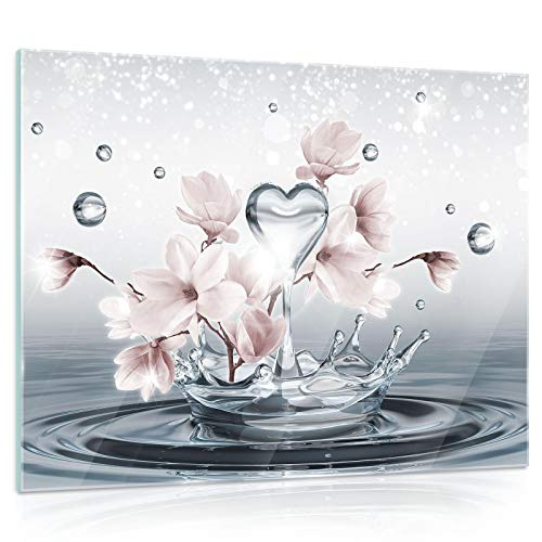 DekoShop Glasbild Echtglas Glasfoto Wandbild Magnolie AMDGT10163G5 G5 (80cm. x 60cm.) Real Glass