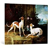 """Cuadro en lienzo: Jean-Baptiste Oudry """"Misse and Turlu, two greyhounds of Louis XV"""" - Impresión artística de alta calidad, lienzo en bastidor, 95x75 cm"""