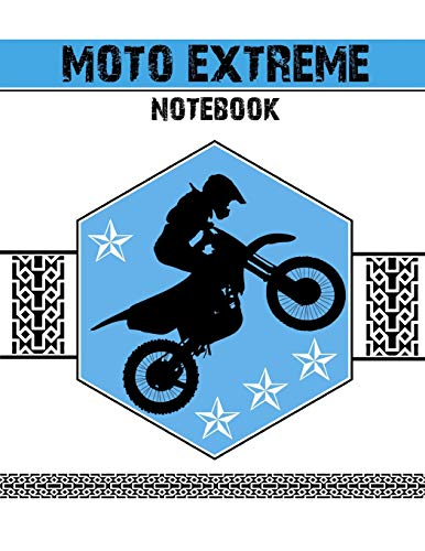 Moto Extreme Notebook: Blank 150 lined composition ruled notebook with blue moto extreme cover por Timibooks