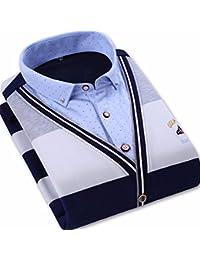 YALL Hombres Camiseta De Ocio Caliente Dos Falsos Grueso Doble Camiseta Cuello Tortuga