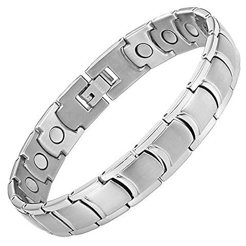 Willis Judd Mens Titanium Magnetic Bracelet In Black Velvet Gift