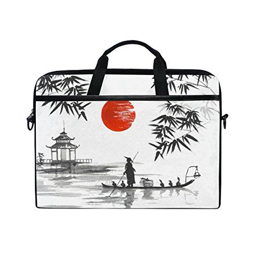 jstel Japanische Malerei Mann mit Boot Laptop Schulter Messenger Tasche Fall Sleeve für 35,6cm zu 39,6cm mit verstellbarer Notebook Schultergurt - Schulter-boot