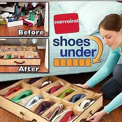 Tiowea 12 Grid Non-Woven Shoebox Folding Organizer Schuhe Lagerung Schrankordnungssysteme