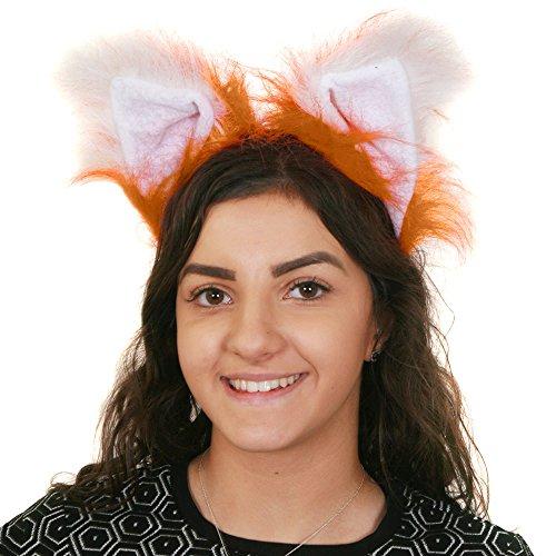 (ILOVEFANCYDRESS Fuchs Ohren - Katzen Ohren - SCHWÄNZE - Nasen = BRAUN/Weisse Fuchs Ohren ODER SCHWARZ/WEIßE Katzen Ohren ODER DIE SCHWÄNZE 2 Verschiedenen LÄNGEN + STÄRKEN = Fuchs Ohren)