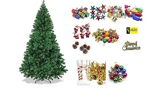 Zest 4 Giftz 7 Feet Christmas Tree with 40 Pcs Tree Decoration Set for Christmas Home Decor (Balls, Bells, Gifts, Drums, Candy Sticks & Santa Claus)