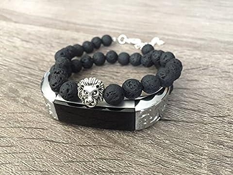 Grande double Wrap Noir pierres naturelles Bracelet pour Fitbit Alta et Alta HR Fitness tracker d