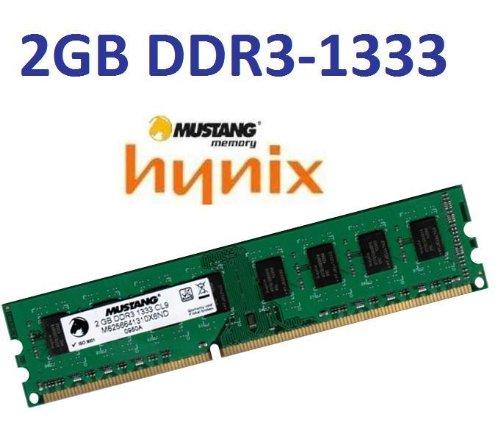 Mustang / Hynix Original 2 GB 240 pin DDR3-1333 (1333Mhz, PC3-10600, CL9) DIMM 128Mx8x16 double side für DDR3 + i5 + i7 Mainboards - 100% kompatibel zu 1066Mhz, PC3-8500, CL7 -