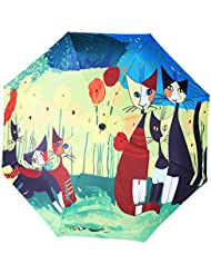 FakeFace® 3-Pliable Parapluie Haute de Gamme Désigne Créatif Art 3D Impression Anti-UV SPF 40+ Ombrelle Femme Ultre-Léger Incassable Compact Parapluie Coupe-Vent Sun Umbrella