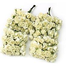 144x Mini Elegantes Flor Rosas Artificiales de Papel Hechas a mano DIY Artesanía