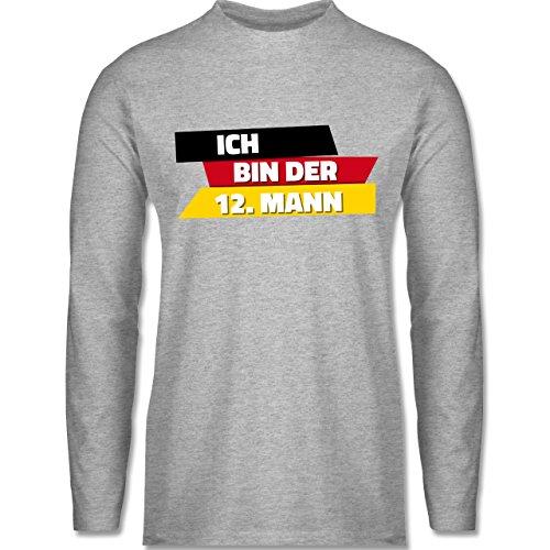 Shirtracer Fußball-WM 2018 - Russland - Ich Bin der 12. Mann Deutschland - Herren Langarmshirt Grau Meliert