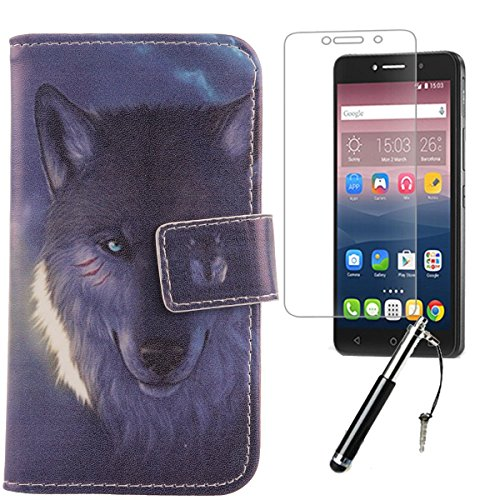 """Lankashi 3in1 Set Wolf Design PU Cuir Coque Case Pour Alcatel Pixi 4 6"""" 4G 9001D Housse Etui Cover Flip Verre Trempé Vitre de Protection écran Rétractable Mini Tactiles Capacitif Stylus Touch Pen Styl Wolf"""