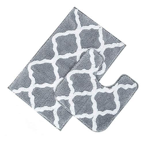 Pauwer Microfaser Soft Badteppich Set 2 teilig, saugfähiges Bad Contour-Teppich Rutschfeste waschbare Bad-Duschmatte und U-förmige Badvorleger (Grau, 53 x 86 cm + 50 x 50 cm)